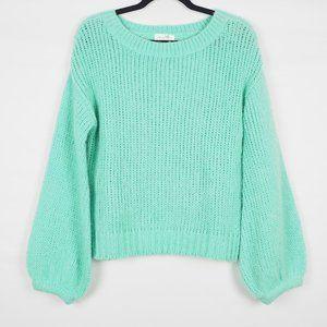 Lovers + Friends Balloon Sleeve Sweater Mint XS